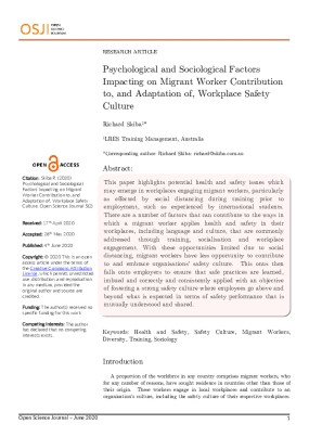Psychological and Sociological Factors Impacting on Migrant Worker Contribution to, and Adaptation of, Workplace Safety Culture