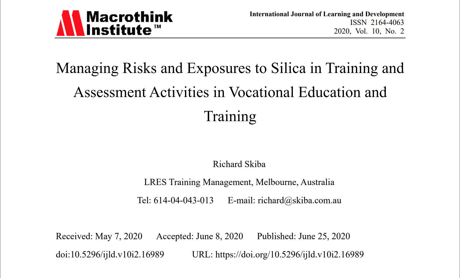 Managing Risks and Exposures to Silica in Training and Assessment Activities in Vocational Education and Training