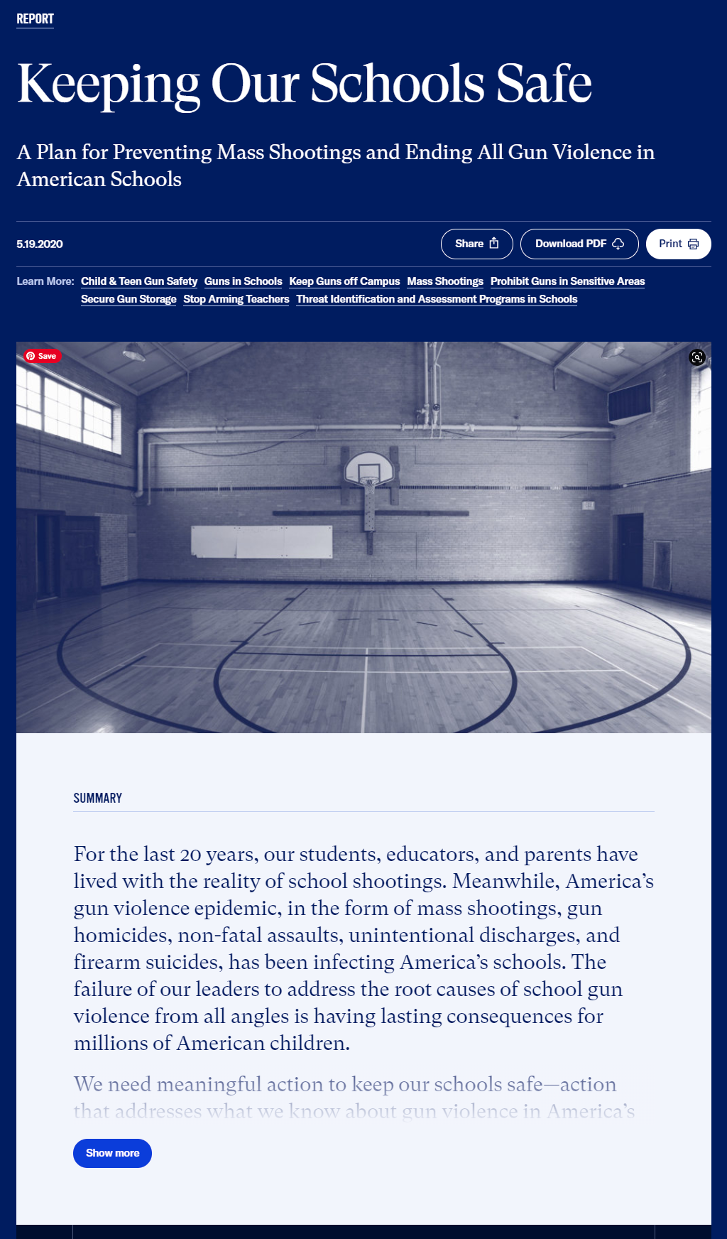 Keeping Our Schools Safe: A Plan for Preventing Mass Shootings and Ending All Gun Violence in American Schools