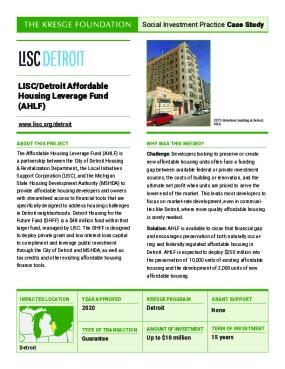 LISC/Detroit Affordable Housing Leverage Fund (AHLF)