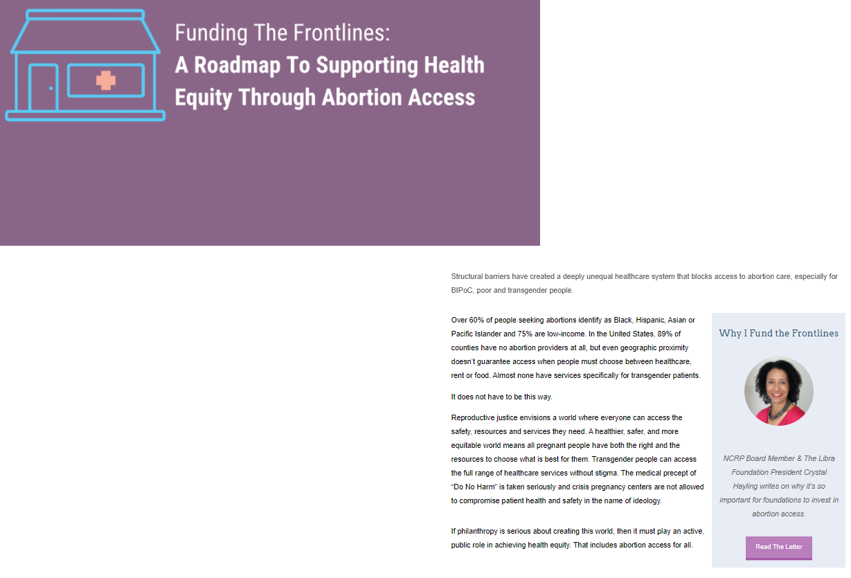 Funding the Frontlines: A Roadmap To Supporting Health Equity Through Abortion Access